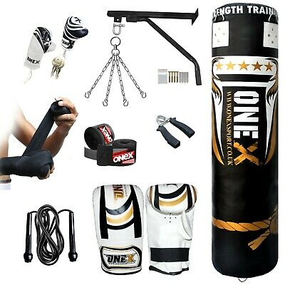 5ft Punching Gloves Mitts for Training Fitness Water proof Bags MMA Onex Blue//Black series 5 FT Filled Heavy Punch Bag Set,Chains,Bracket Blk Hook+Mitts Onex