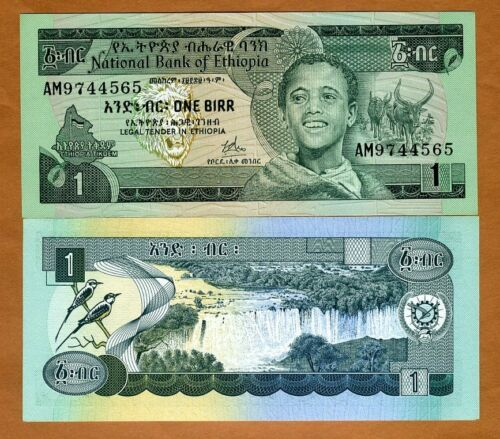 1 UNC Ethiopia 1 Birr 30a Pick 30 ND 1969 1976 Sign