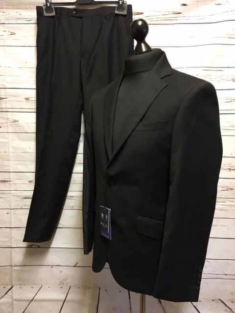 Austin Reed Mens The Chelsea Black Suit Jacket 38 Reg Trousers 32 Reg For Sale Online Ebay