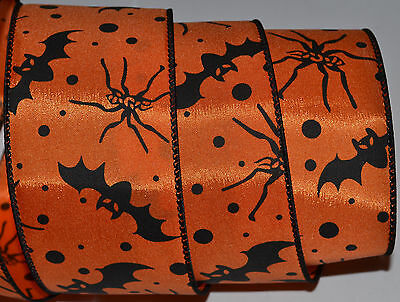 Wired Ribbon~Black Bat~Spider~Orange~Dot~Spot~Halloween~Wreath~Fall~Craft~Bow