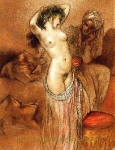 "Nude Harem Woman 8.5x11"" Photo Print Louis Icart Naked Female Pinup Fine Artwork"