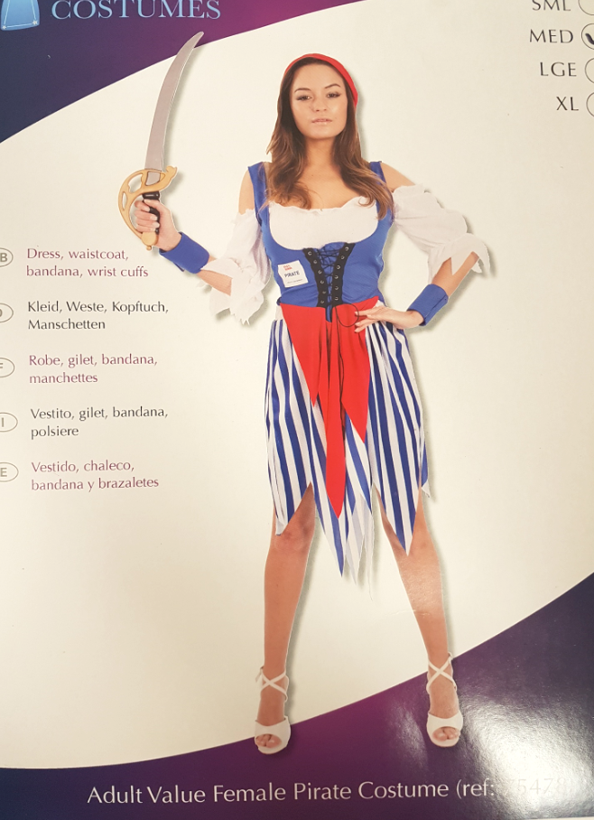 Ladies Fancy Dress Adult Basic Value Pirate Costume Sexy Joke Outfit Halloween