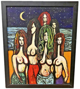 THERESA-HOCHHALTER-AMERICAN-20TH-C-SIX-NUDE-WOMEN-FIGURES-ACRYLIC-ON-BOARD