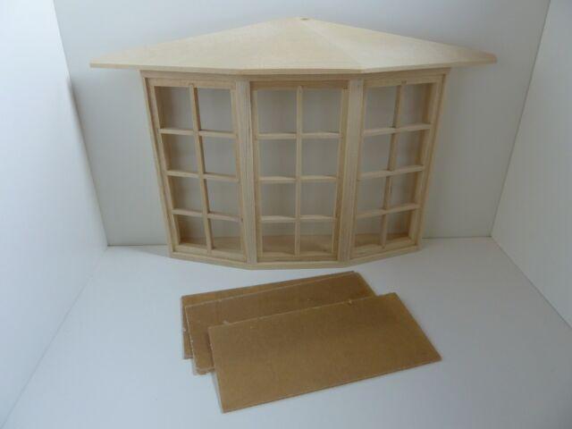 Dolls House Miniature 1:12 Scale House Building Wood 24 Pane Bay Window