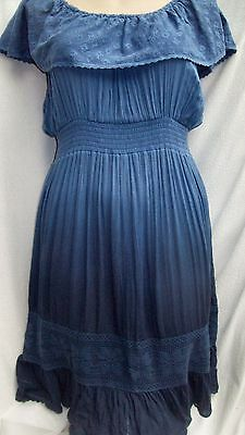 Autograph BLUE gypsy boho shirred waist 18 Dress beach holiday frilled sundress