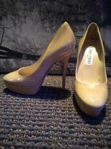 Jimmy Choo Cosmic Platform NUDE Patent Leather Pump Shoes