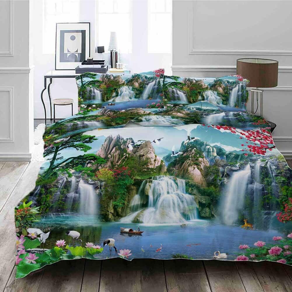 Grün Pine Boat 3D Printing Duvet Quilt Doona Covers Pillow Case Bedding Sets