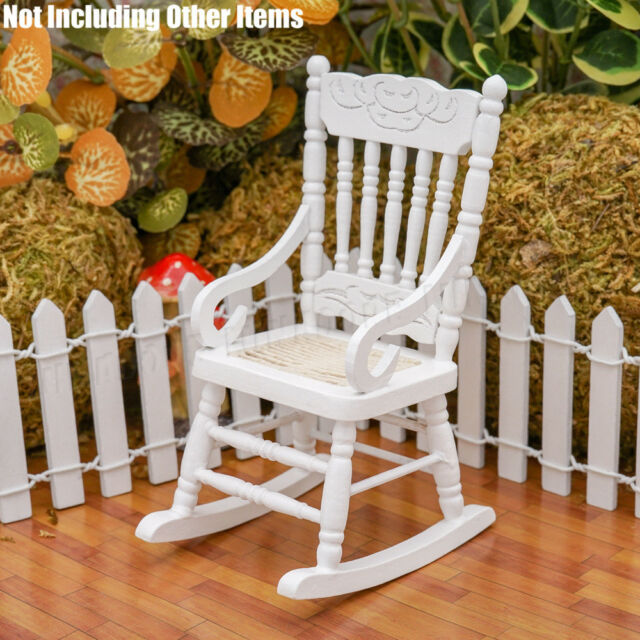 1:12 Miniature Wooden White Rocking Chair Furniture Hemp Rope Seat Dollhouse