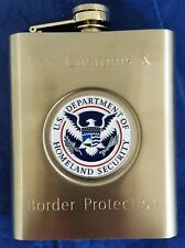 US Customs & Border Protection Stainless Steel 6oz Flask w Full Color DHS Emblem