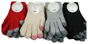 Women-Soft-Touch-Screen-Glove-Winter-Warm-Thick-Knit-Smartphone-Tablet-One-Size