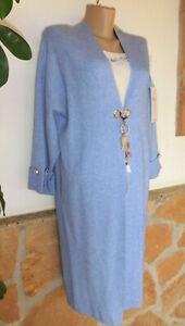 Details zu Sweet Lady Fashion Italy Strickjacke Mantel Apart Hellblau Viskose Chic 38 42