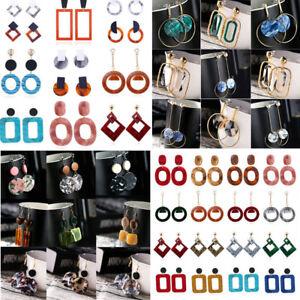 Boho-Geometric-Women-Dangle-Drop-Hook-Acrylic-Resin-Ear-Stud-Earrings-Jewelry