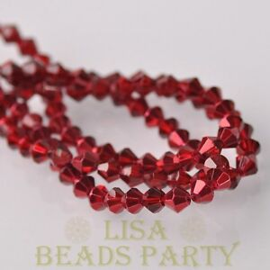New-Arrival-200pcs-3mm-Faceted-Bicone-Loose-Spacer-Glass-Beads-Deep-Red