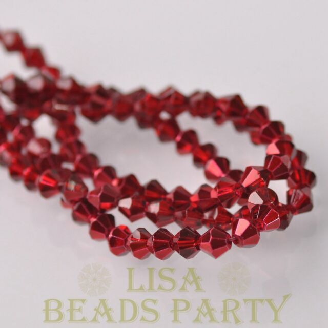 New Arrival  200pcs 3mm Faceted Bicone  Loose Spacer Glass Beads Deep Red