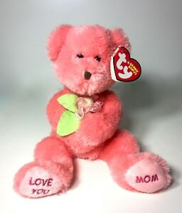 """2006 TY Beanie Baby DEAR MOM Mother's Day Message Love You Pink Bear Flower 8.5"""""""