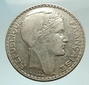 1938-FRANCE-Authentic-Large-Silver-20-Francs-Genuine-French-MOTTO-Coin-i77006