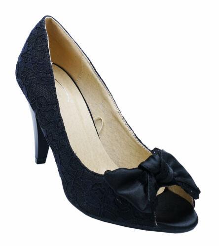 Femmes Dentelle Noir recouvrement formelle de mariage élégant Soirée Chaussures Tailles 3-8