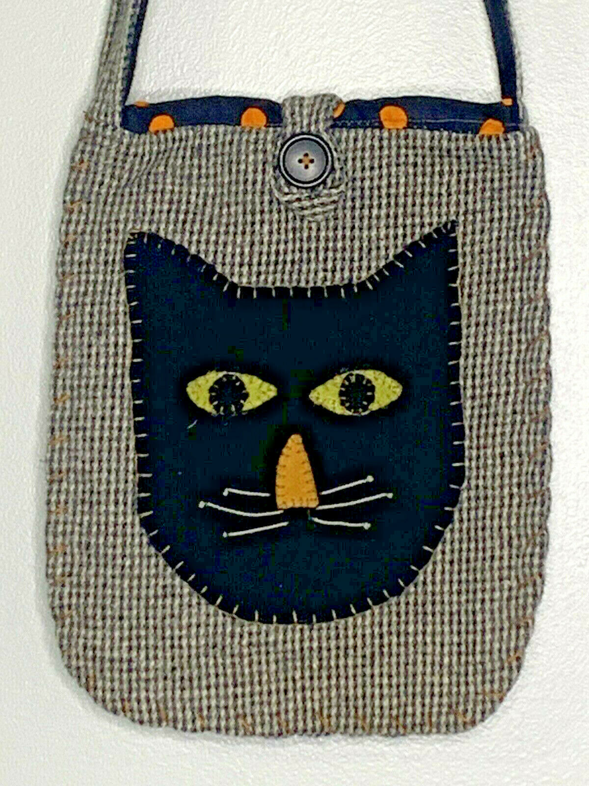 Wool Black Cat Bag Purse Shoulder Bag Handmade? U… - image 1