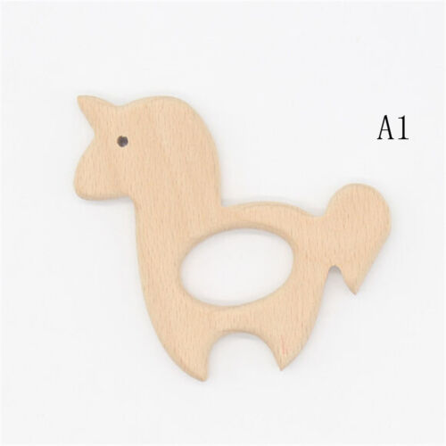 New Animals Teething Natural Wood Beads Baby DIY Chew Toy Jewelry Making