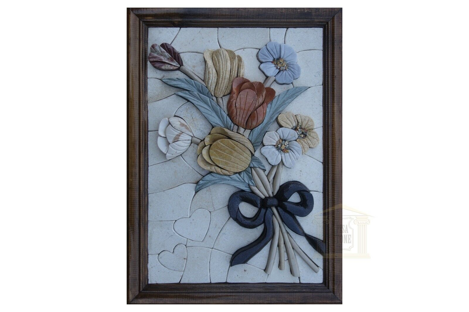 Right Ribbon of Flowers 3D Handmade Stone Picture Innocent Wall Decor Mosaic Art