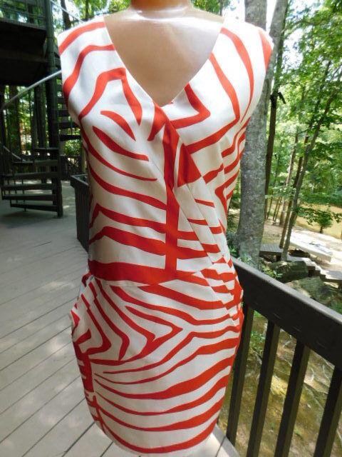 JULIE HAUS from Anthropologie  orange & off white CREAM ZEBRA print SILK DRESS 2