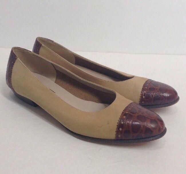 Salvatore Ferragamo  6.5 B  nulo Slip Zapato tan tan tan marrón Nubuck Cocodrilo puntera talón  comprar ahora