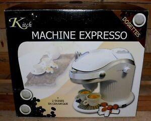 Kitch-Espresso-EASY-maschine-Kaffee-Pad-automat-750W-4Bar-0-3L-Weis-Defekt