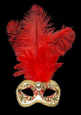 Máscara De Venecia Columbine Pluma Avestruz Rojo Dore 514 V26