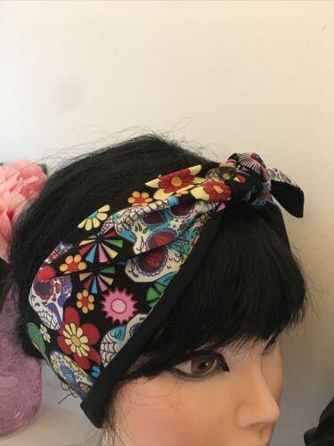 Hair Scarf //SelfTie //Rockabilly Swing,black Sugar Skull Hair Band Bandana