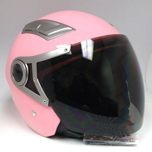 NEW 1STORM MOTORCYCLE SCOOTER BIKE OPEN FACE 3/4 HELMET DUAL VISOR GLOSSY  PINK