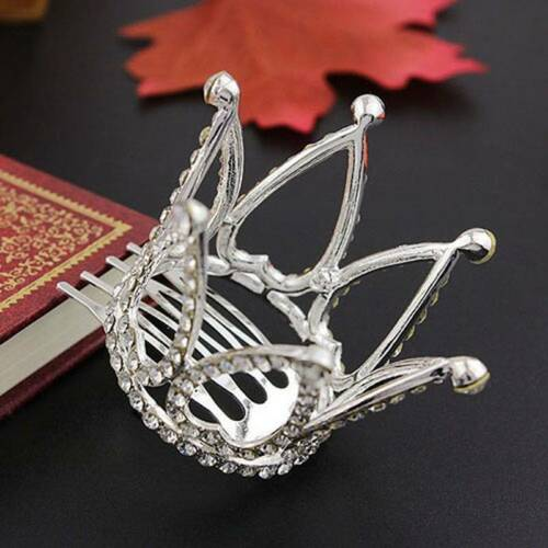 Chic Mini Crown Tiara Hair Combs Clear Rhinestones Crystal Bridal Pageant Party