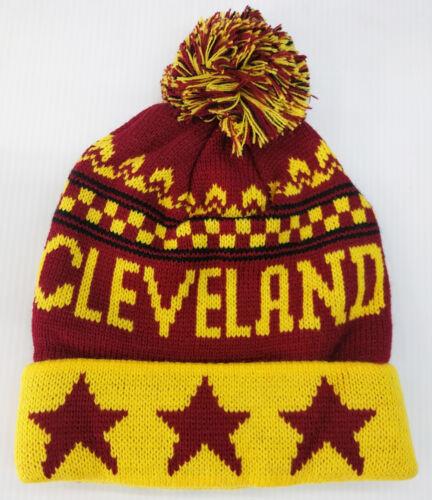 Cleveland Adult Pom Pom Beanie Winter Knit Hat NEW!