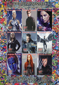 Chad-2018-MNH-X-Men-Wolverine-Stan-Lee-Superheroes-9v-M-S-Comics-Movies-Stamps