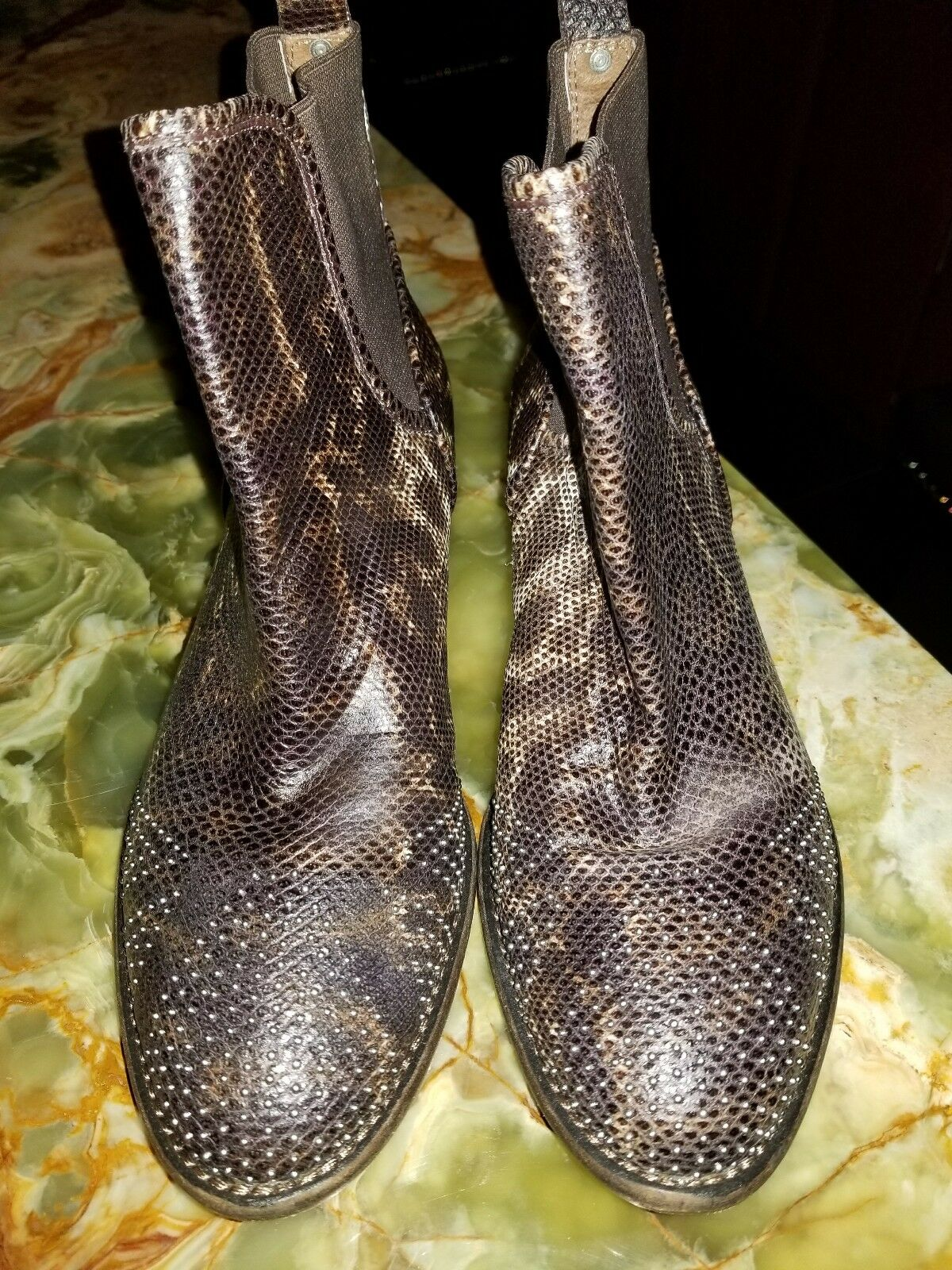 DONALD DONALD DONALD PLINER Brown  PRONTO  82 Snake Leather Studs Ankle Boots 9M 082c59