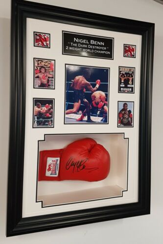 Rare Nigel Benn SIGNED Boxing GLOVE Autograph Display NEW DISPLAY
