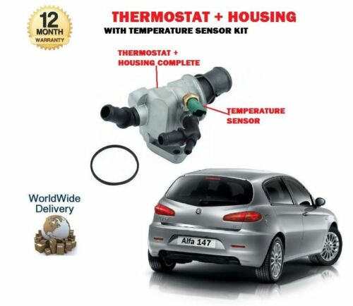 FOR ALFA ROMEO 147 1.9 JTD JTDM 16V 937 2003-- THERMOSTAT WITH SENSOR + HOUSING