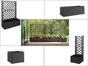 pflanzkasten mit spalier rankgitter kunststoff rosengitter rattan anthrazit gro ebay. Black Bedroom Furniture Sets. Home Design Ideas