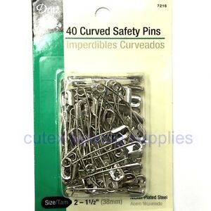 """Dritz 40 Curved Safety Pins Size 2 (1-1/2"""") Nickel Plated Steel"""