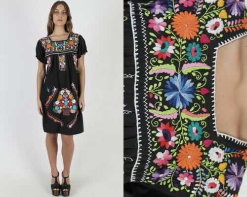 Vintage Black Mexican Dress Floral Basket Embroide