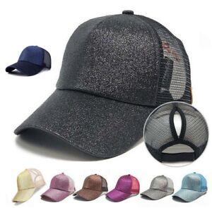 fa3aa0114af776 Women's Ponytail Glitter Cap Messy Buns Adjustable Mesh Baseball Hat ...