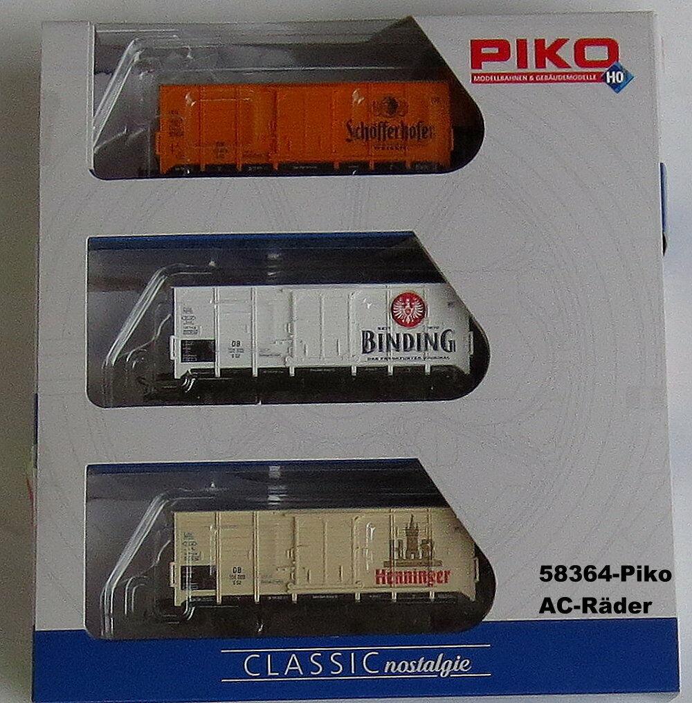 Piko 58364 - Freight Car Set -3 Bierwagen- Wechselstrom-Räder - Ho -new