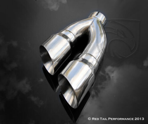 """Dual 4/"""" Round Truck Pickup Exhaust Muffler Tip 3/"""" ID 16/"""" L Side Exit Corsa Style"""