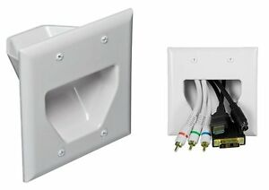2gang recessed low voltage wall plate pass through hdmi speaker video cable