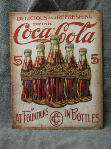 Coke Coca Cola Tin Metal Sign Decor Kitchen Vintage Look NEW Pop Soda NEW