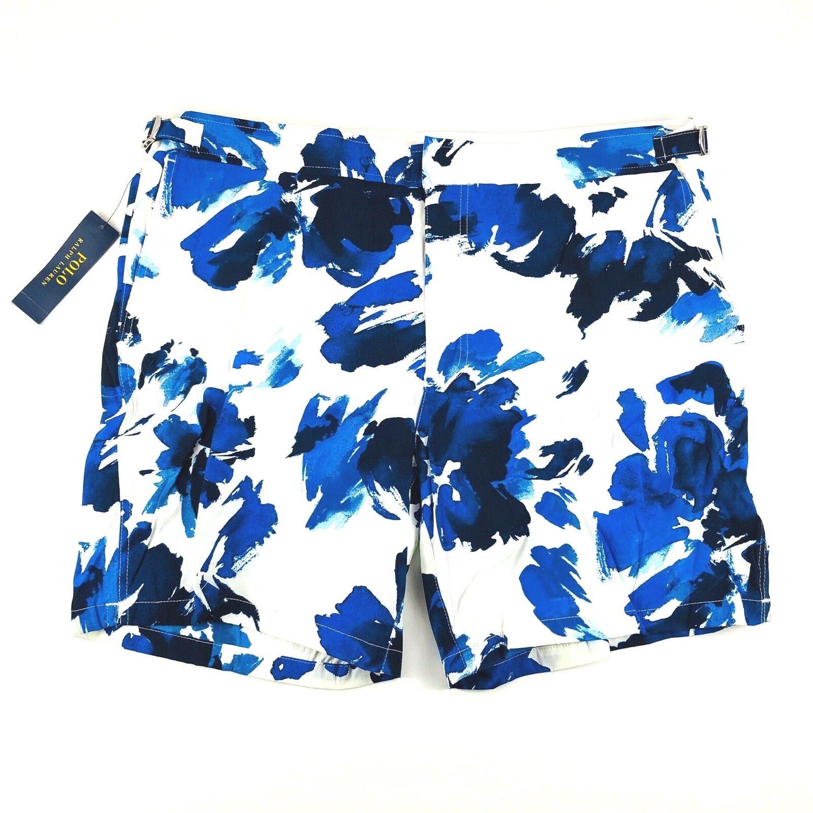 2b4c68a86e436 Polo Ralph Lauren Navy White Print Inch Monaco Swim Trunks Mens 38 40 42 36  7 nsuixl3867-Swimwear