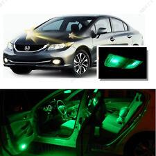 For Honda Civic 2013-2016 Green LED Interior Kit + Green License Light LED