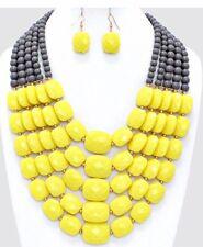 Very Chunky Big Yellow Gray Pearl Acrylic Multi Layered Bead Necklace Earring