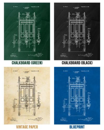 Elevator Poster Print Industrial Art Architect Gift Elevator Blueprint