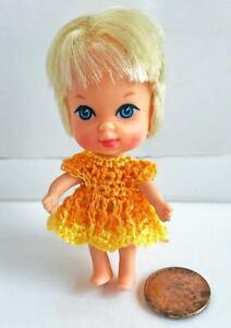 Clothes-for-Tiny-2-3-4-034-KIDDLES-Doll-Orange-Yellow-Dress-OOAK-Lot-MK-11-USA-made