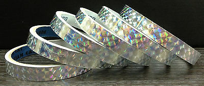 6x 3 yards (18y) 1/2 in Silver Holographic Colored Prism TAPE Reflective 7 Color